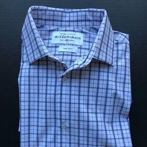 Long Sleeve (L/S) Check White/Blue L Trim Fit USA